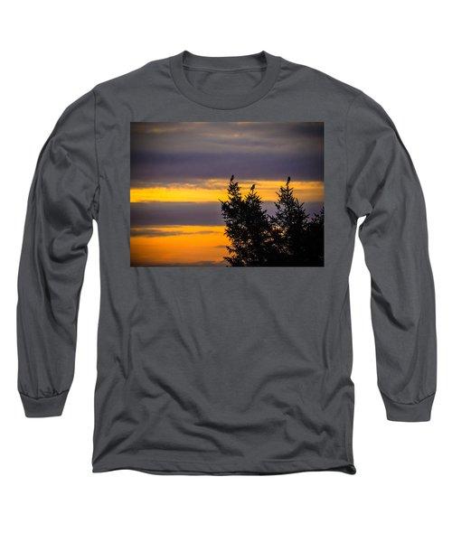 Magpies At Sunrise Long Sleeve T-Shirt