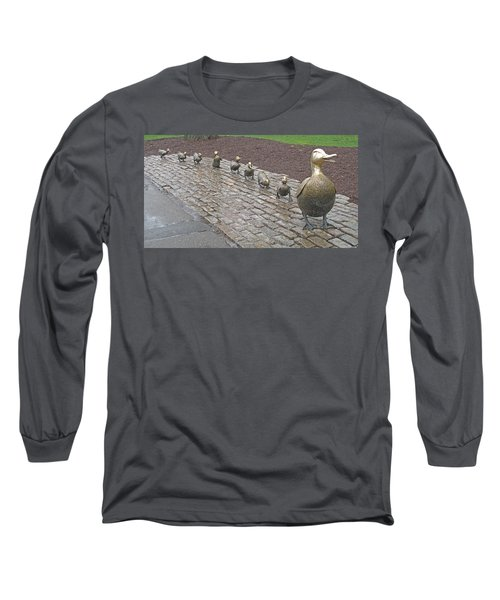 Long Sleeve T-Shirt featuring the photograph Make Way For Ducklings by Barbara McDevitt