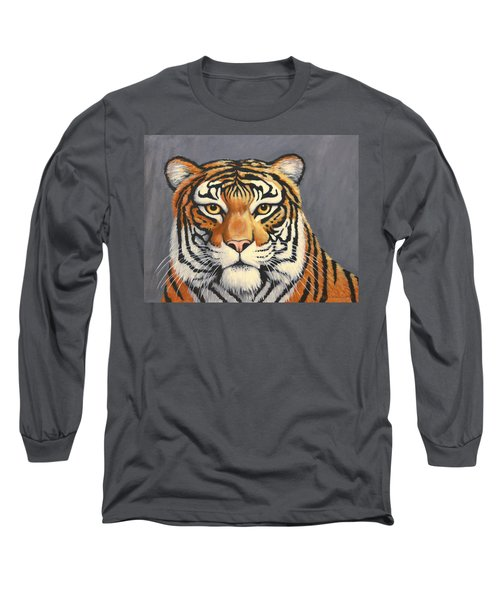 Malayan Tiger Portrait Long Sleeve T-Shirt by Penny Birch-Williams