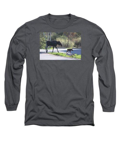 Mama And Baby Moose Long Sleeve T-Shirt by Fiona Kennard