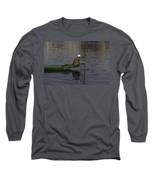 Man Plying A Wooden Boat On The Dal Lake Long Sleeve T-Shirt