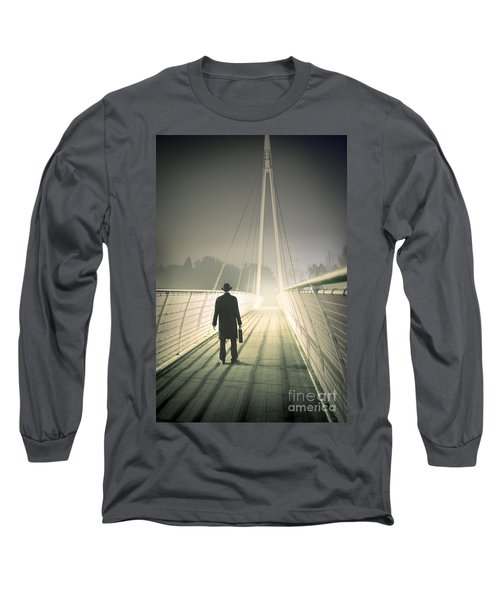 Long Sleeve T-Shirt featuring the photograph Man With Case On Bridge by Lee Avison