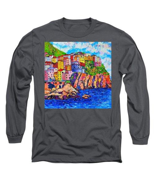Manarola Cinque Terre Italy Detail Long Sleeve T-Shirt