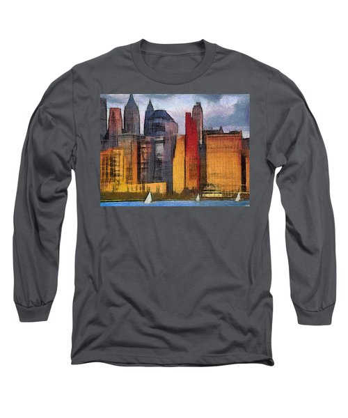 Beautiful City Manhattan Digital Painting Long Sleeve T-Shirt by Georgi Dimitrov