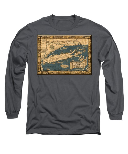 Map Of Long Island Long Sleeve T-Shirt