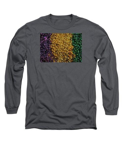 Mardi Gras Beads - New Orleans La Long Sleeve T-Shirt by Deborah Lacoste