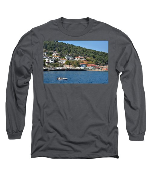 Long Sleeve T-Shirt featuring the photograph Marina Bay Scene With Boat And Houses On Hills by Imran Ahmed