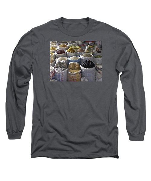 Market - Cusco Peru Long Sleeve T-Shirt by Allen Sheffield