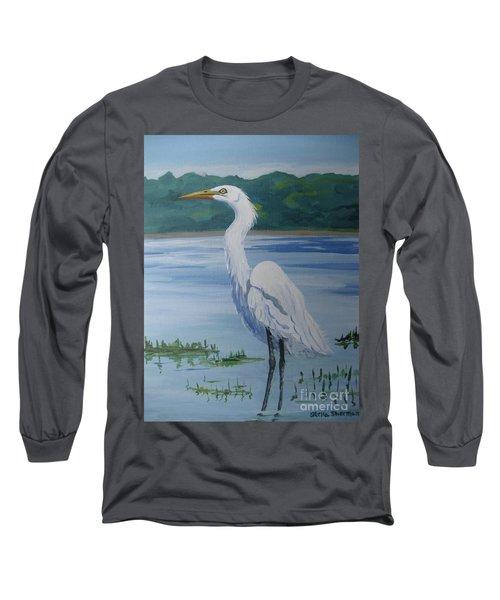 Marsh Land Egret Long Sleeve T-Shirt