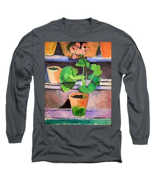 Matisse's Pot Of Geraniums Long Sleeve T-Shirt by Cora Wandel