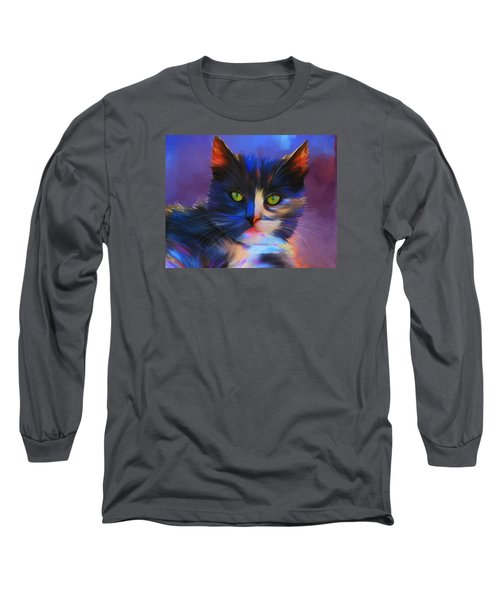 Meesha Colorful Cat Portrait Long Sleeve T-Shirt
