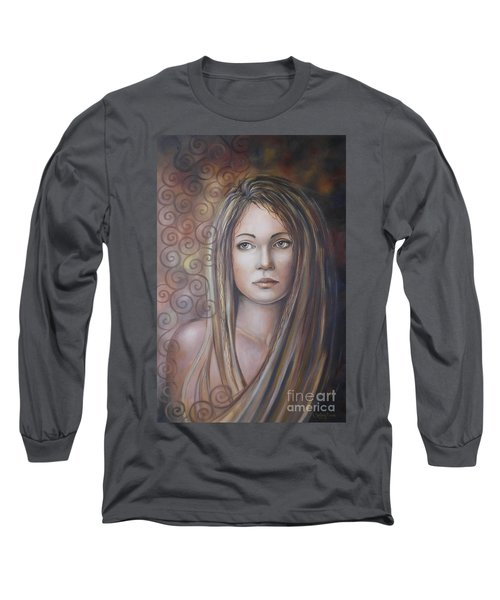 Long Sleeve T-Shirt featuring the painting Melancholy 080808 by Selena Boron