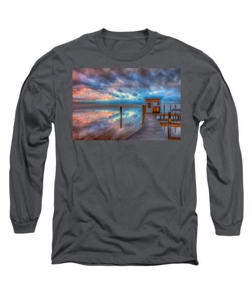 Melvin Village Marina In The Fog Long Sleeve T-Shirt by Brenda Jacobs
