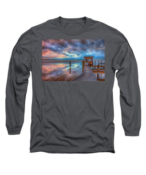 Melvin Village Marina In The Fog Long Sleeve T-Shirt