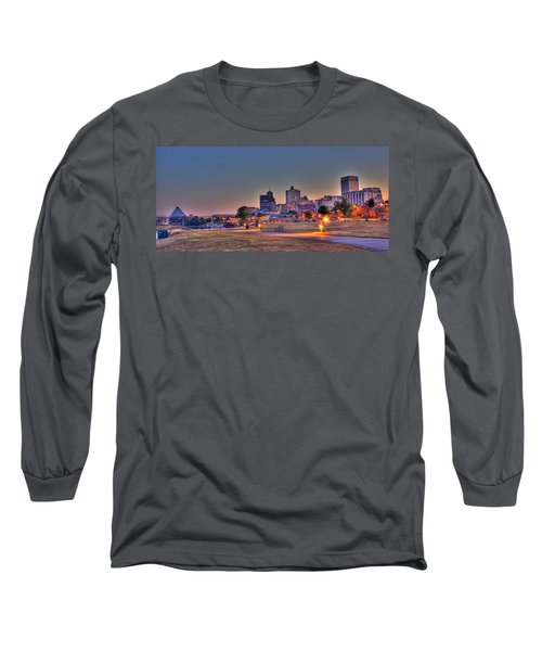 Cityscape - Skyline - Memphis At Dawn Long Sleeve T-Shirt by Barry Jones