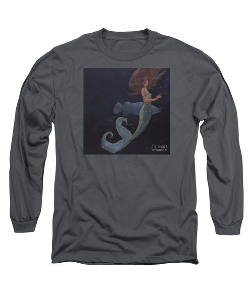 Mermaid And The Blue Fish Long Sleeve T-Shirt by Mary Hubley