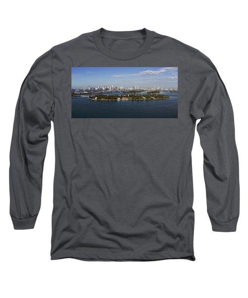 Miami And Star Island Skyline Long Sleeve T-Shirt