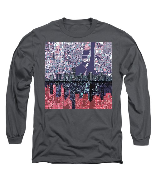 Miami Skyline Abstract Long Sleeve T-Shirt