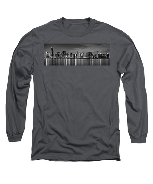 Miami Skyline At Dusk Black And White Bw Panorama Long Sleeve T-Shirt