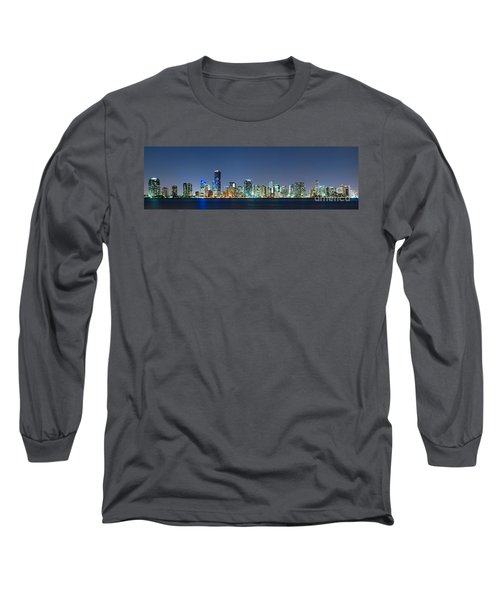 Long Sleeve T-Shirt featuring the photograph Miami Skyline At Night by Carsten Reisinger