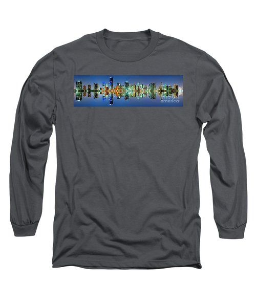 Long Sleeve T-Shirt featuring the photograph Miami Skyline Panorama by Carsten Reisinger