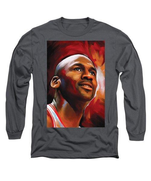 Michael Jordan Artwork 2 Long Sleeve T-Shirt by Sheraz A