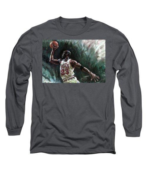 Michael Jordan Long Sleeve T-Shirt by Ylli Haruni