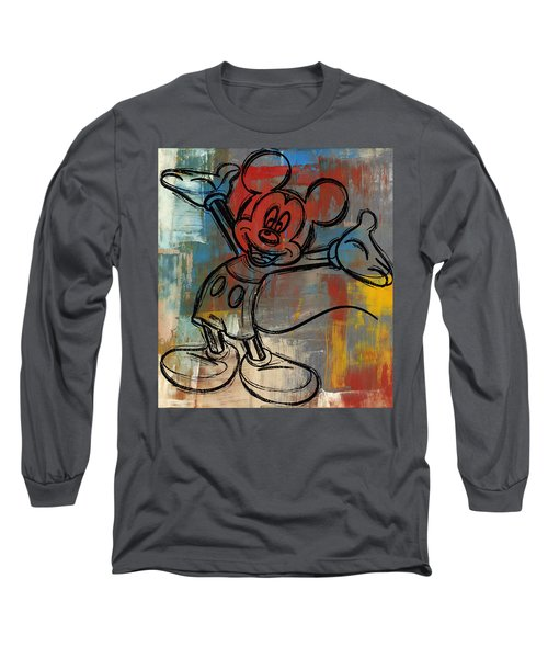 Mickey Mouse Sketchy Hello Long Sleeve T-Shirt by Paulette B Wright