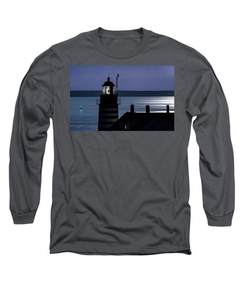 Long Sleeve T-Shirt featuring the photograph Midnight Moonlight On West Quoddy Head Lighthouse by Marty Saccone