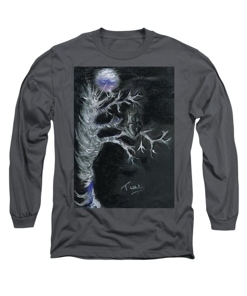 Long Sleeve T-Shirt featuring the drawing Midnight Owl by Teresa White