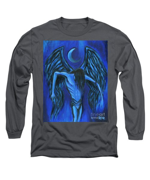 Long Sleeve T-Shirt featuring the painting Midnight by Roz Abellera Art