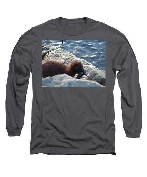 Mink With A Round Goby Long Sleeve T-Shirt by Randy J Heath