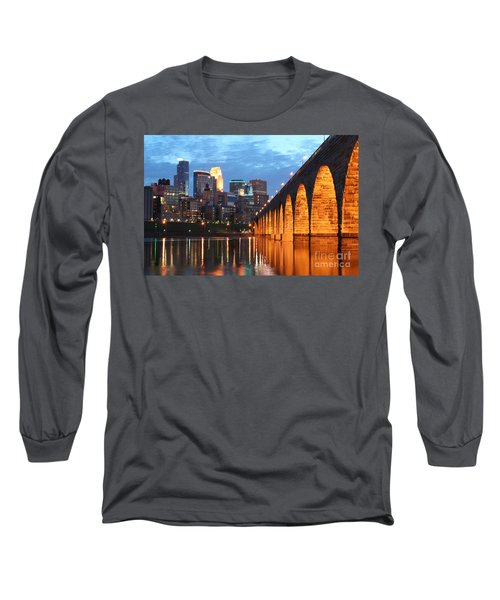 Minneapolis Skyline Photography Stone Arch Bridge Long Sleeve T-Shirt