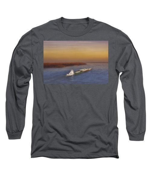 Mississippi Sunset Long Sleeve T-Shirt by Ellen Heaverlo