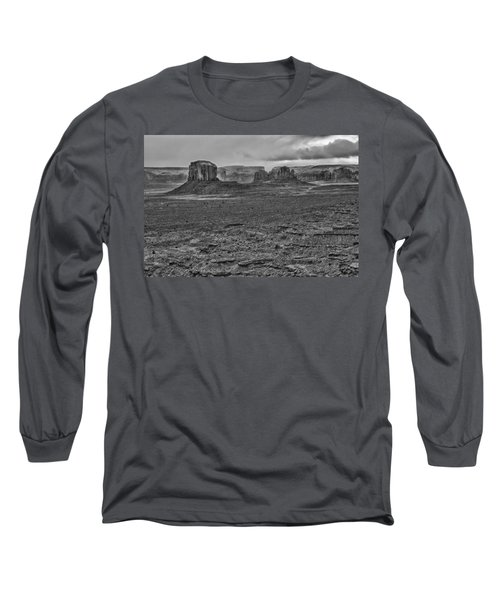 Long Sleeve T-Shirt featuring the photograph Monument Valley 4 Bw by Ron White