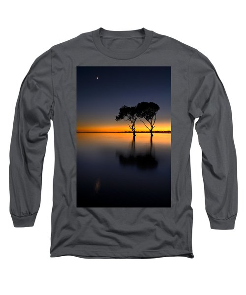 Moon Over Mangrove Trees Long Sleeve T-Shirt