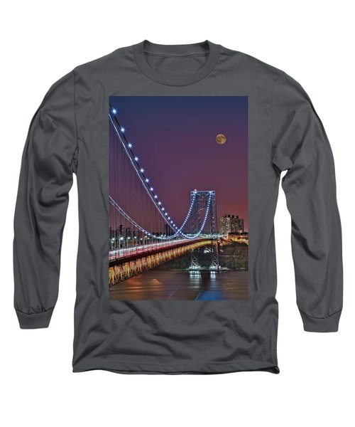 Long Sleeve T-Shirt featuring the photograph Moon Rise Over The George Washington Bridge by Susan Candelario