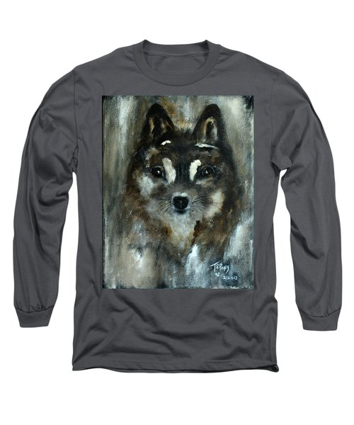 Long Sleeve T-Shirt featuring the painting Moon Shadow The Baby Fox by Barbie Batson