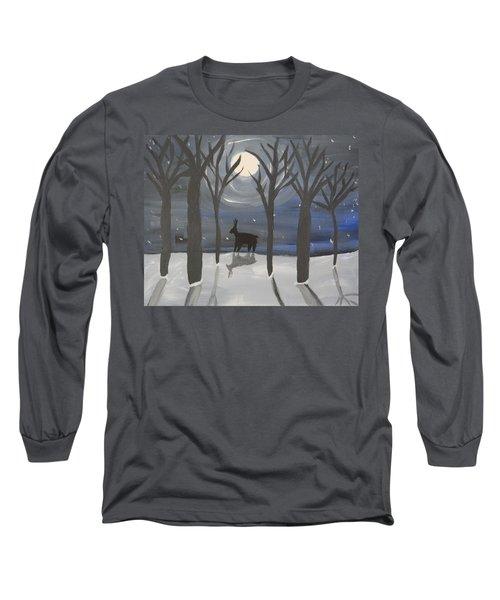 Moonlight On Snow Long Sleeve T-Shirt