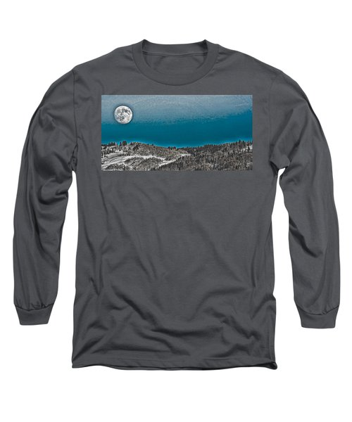 Long Sleeve T-Shirt featuring the photograph Moonrise Over The Mountain by Don Schwartz