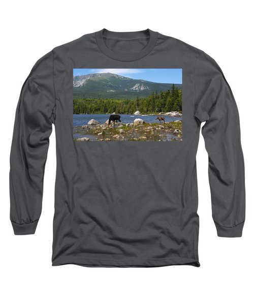 Moose Baxter State Park Maine Long Sleeve T-Shirt