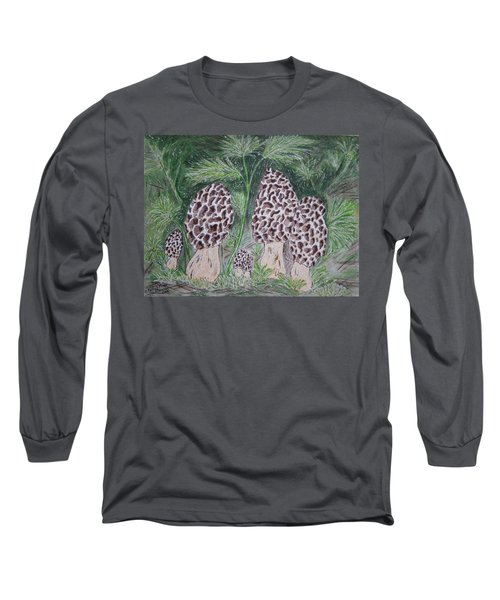 Morel Mushrooms Long Sleeve T-Shirt by Kathy Marrs Chandler