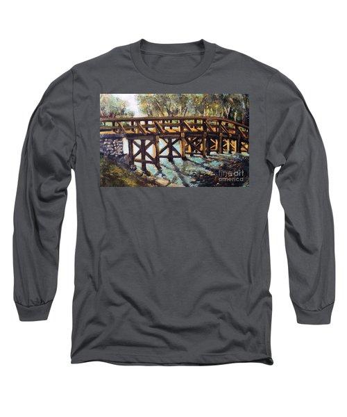 Morning At The Old North Bridge Long Sleeve T-Shirt by Rita Brown