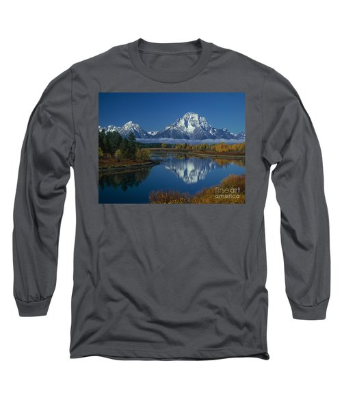 Morning Cloud Layer Oxbow Bend In Fall Grand Tetons National Park Wyoming Long Sleeve T-Shirt by Dave Welling
