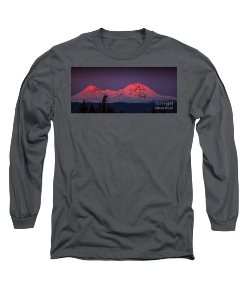 Morning Dawn On Two Of Three Sisters Mountain Tops In Oregon Long Sleeve T-Shirt by Jerry Cowart