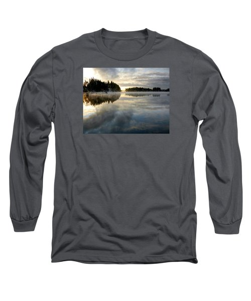 Morning Lake Reflection Long Sleeve T-Shirt by Peter Mooyman