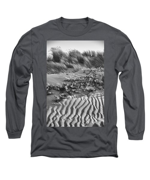 Morro Beach Textures Bw Long Sleeve T-Shirt