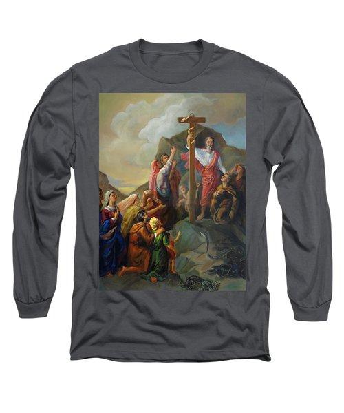 Moses And The Brazen Serpent - Biblical Stories Long Sleeve T-Shirt by Svitozar Nenyuk