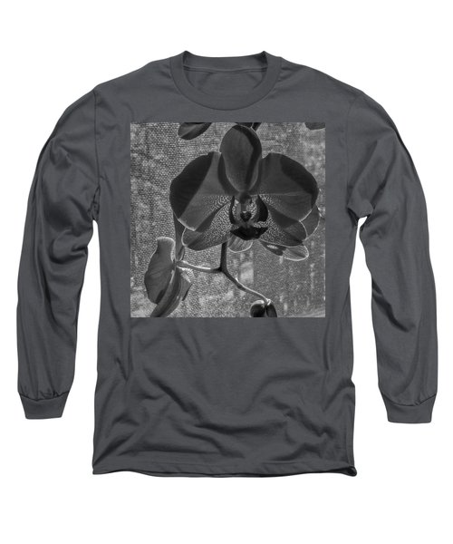 Long Sleeve T-Shirt featuring the photograph Moth Orchid In Window by Ron White