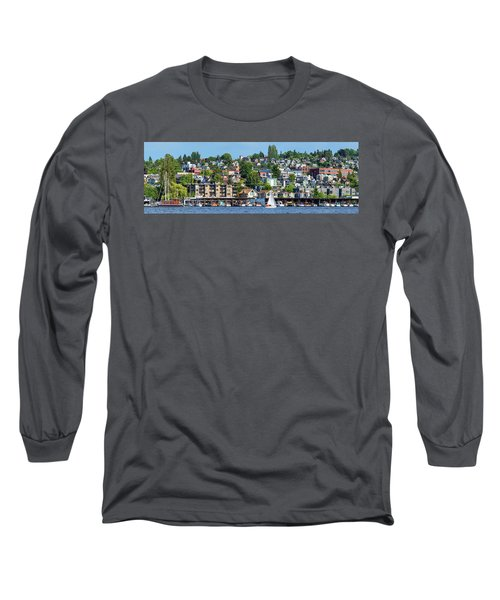 Motorboats Along Lake Union, Seattle Long Sleeve T-Shirt
